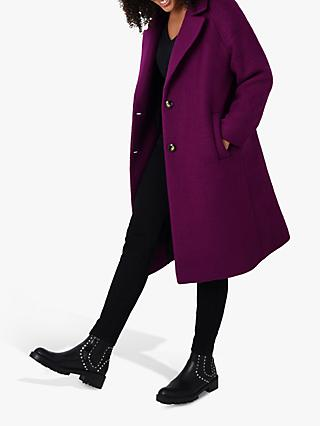 Live Unlimited Curve Wool Blend Coat, Burgundy