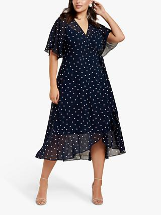 Forever New Curve Emma Ditsy Spot Dress, Blue
