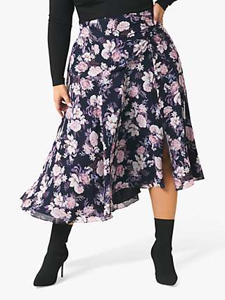 Forever New Curve Louise Floral Midi Skirt, Blushed Navy