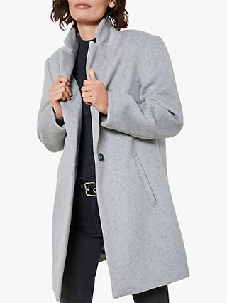 Mint Velvet Wool Blend Boyfriend Coat, Light Grey