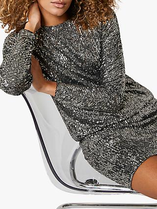 Mint Velvet Sequin Batwing Mini Dress, Gunmetal