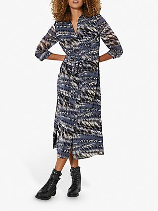Mint Velvet Mika Print Shirt Midi Dress, Dark Blue