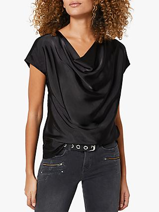 Mint Velvet Cowl Neck Cap Sleeve Top, Black
