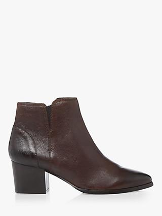 Dune Payge Leather Mid Block Heel Ankle Boots, Brown