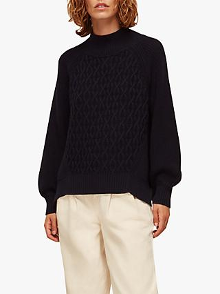 Whistles Cable Detail Knit Jumper, Navy
