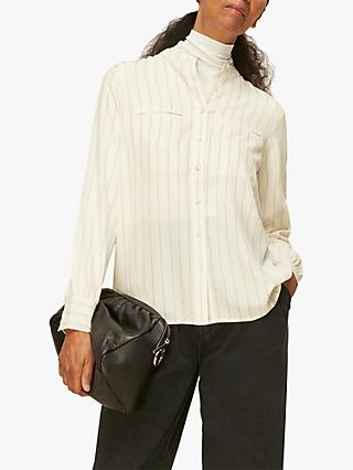 Whistles Classic Silk Striped Shirt