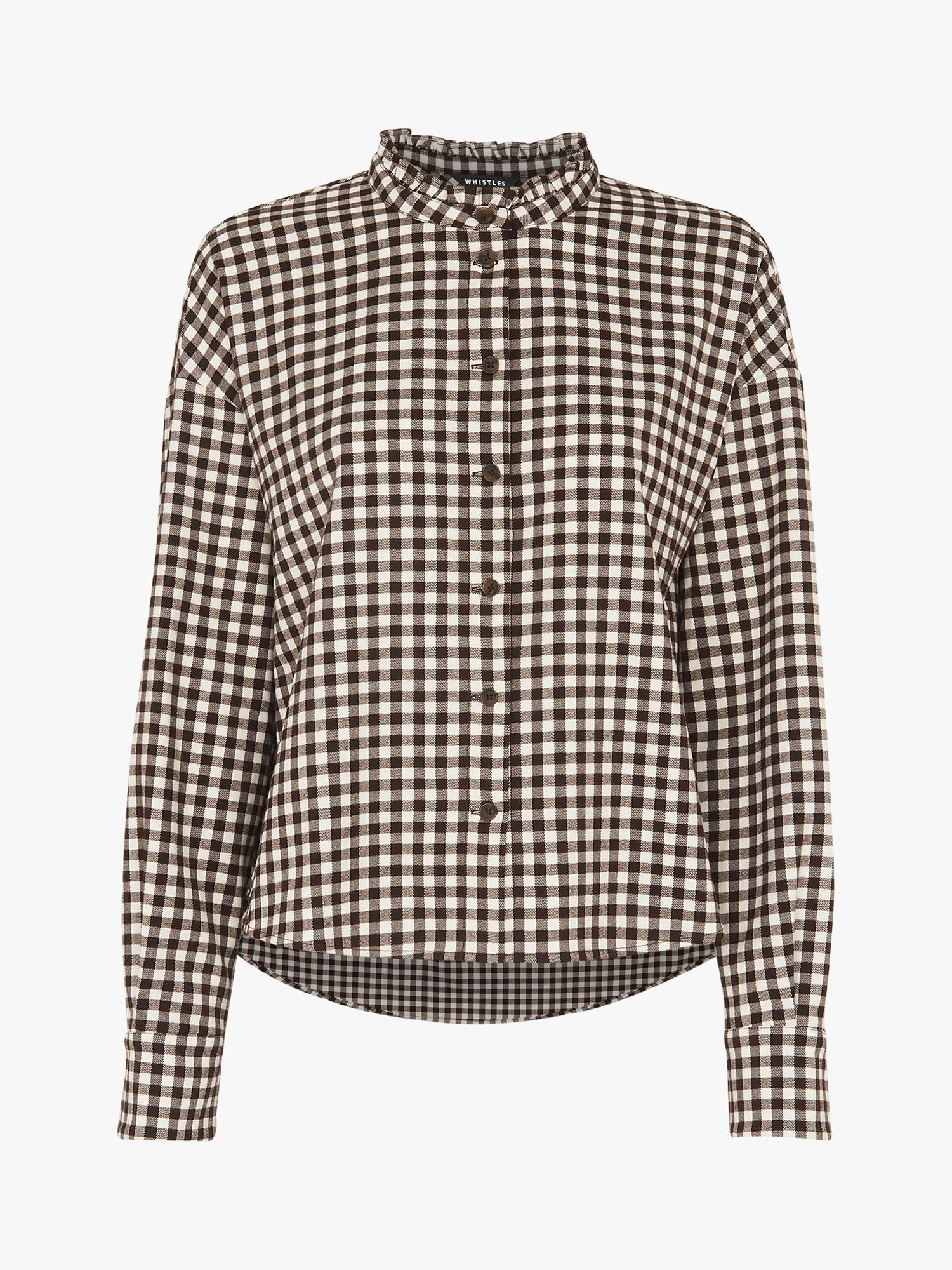 Whistles Gingham Blouse, Brown/Multi