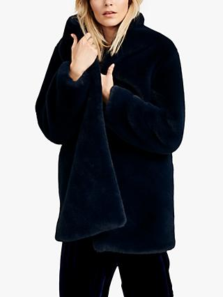 NRBY Dulcie Faux Fur Coat, Navy