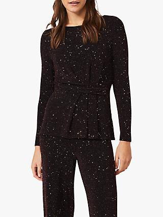 Phase Eight Kitt Shimmer Top, Black