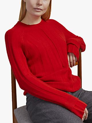 Jigsaw Merino Cashmere Ribbed Jumper, Cardinal Red