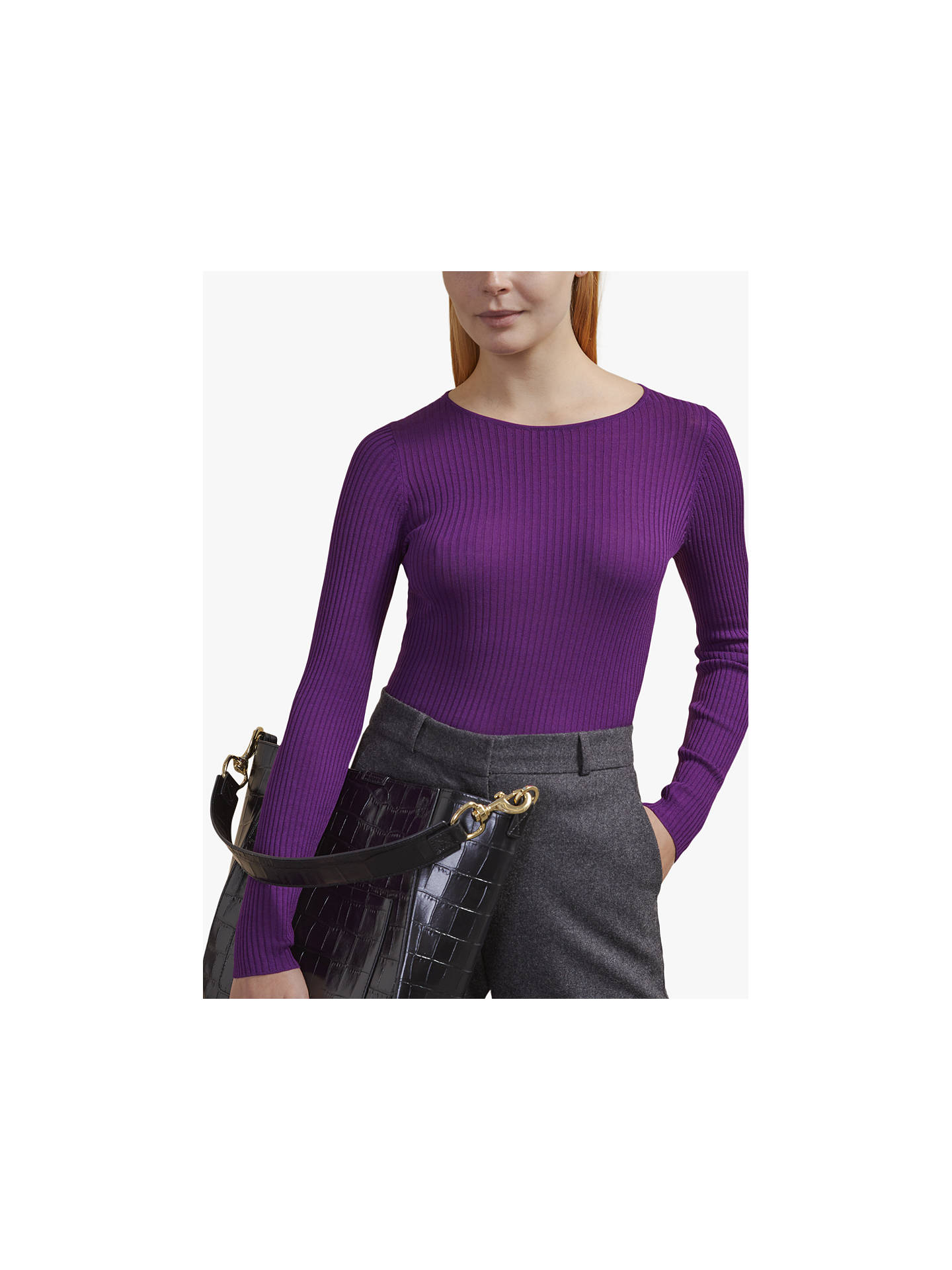 Buy Jigsaw Saunton Silk Jumper, Prince Purple, XS Online at johnlewis.com