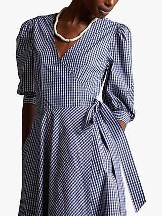 Polo Ralph Lauren Gingham Wrap Midi Dress, Blue/White Plaid