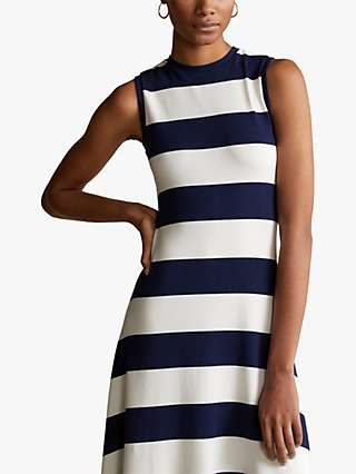 Polo Ralph Lauren Sleeveless Stripe Tank Dress, Holiday Navy/Nevis