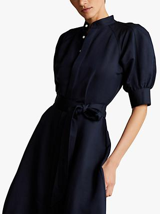 Polo Ralph Lauren Cici Elbow Sleeve Silk Dress, Worth Navy