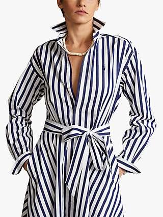 Polo Ralph Lauren Ela Stripe Shirt Dress, Navy/White