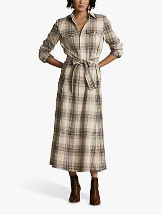 Polo Ralph Lauren Stephanie Check Maxi Dress, Grey/Yellow