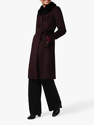 Hobbs Edeline Wool Coat, Wine