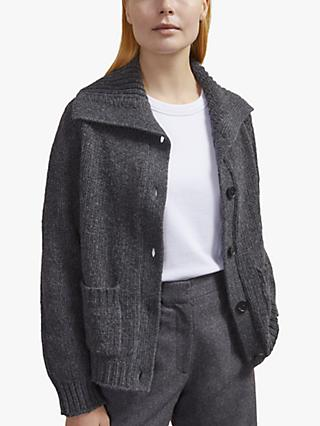 Jigsaw Textured Cardigan, Charcoal
