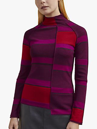 Jigsaw Asymmetric Merino Wool Jumper, Burgundy