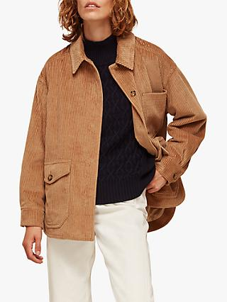 Whistles Corduroy Button Up Jacket, Neutral