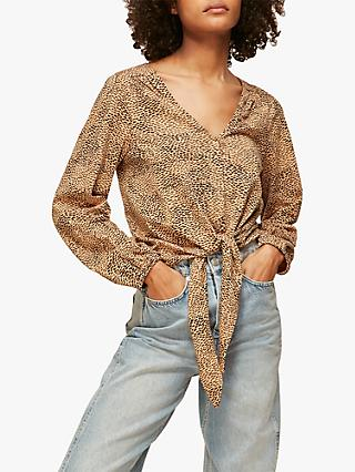 Whistles Ripple Print Tie Front Top, Multi