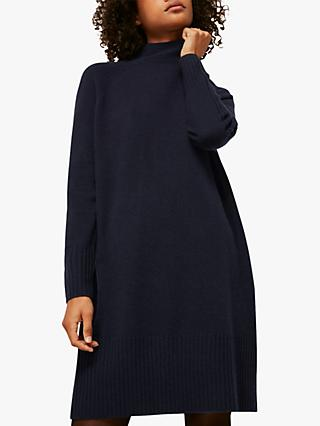 Whistles Funnel Neck Knitted Dress, Navy