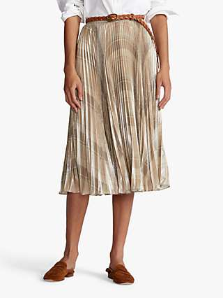 Polo Ralph Lauren Pleated Abstract Print Skirt, Tan/Multi