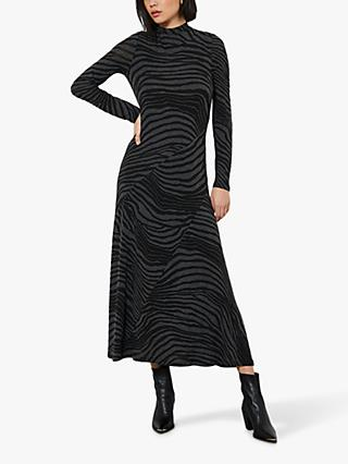Mint Velvet Zebra Print Midi Dress, Grey