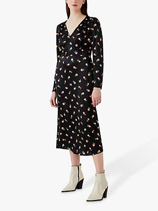 Ghost Amory Floral Midi Dress, Black/Multi