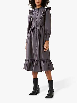 Ghost Verona Frill Midi Dress, Granite