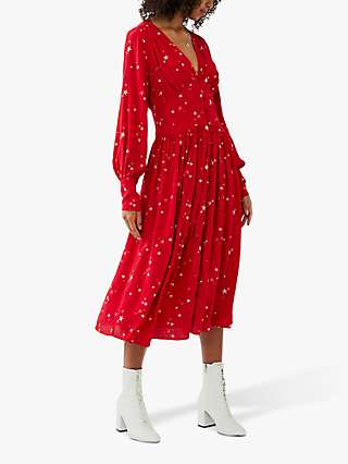 Ghost Cora Star Print Midi Dress, Red