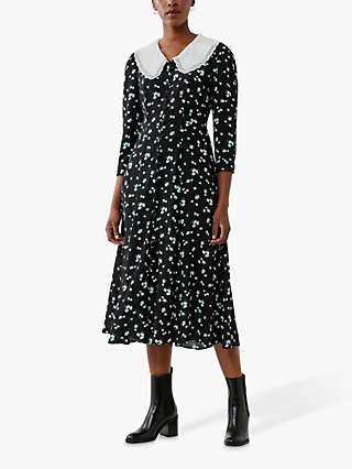 Ghost Aiyanna Floral Midi Dress, Mono Black