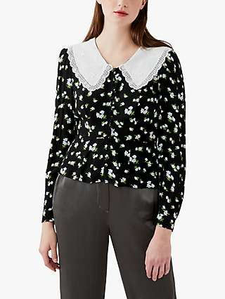 Ghost Kala Oversized Collar Floral Blouse, Black/White