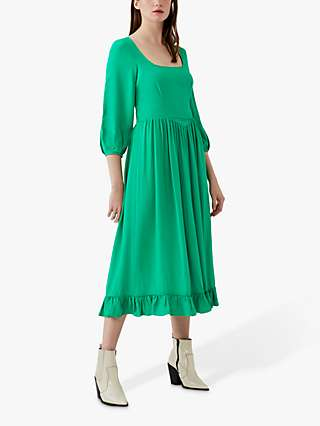Ghost Cameo Midi Dress, Emerald Green