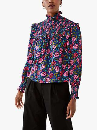 Ghost Fia Floral Funnel Neck Blouse, Roses