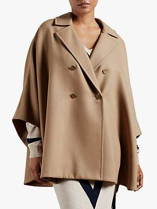 Ted Baker Donnata Wool Blend Double Breasted Cape Coat, Camel