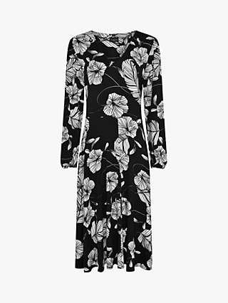 Live Unlimited Curve Floral Mono Print Jersey Dress, Black/Multi
