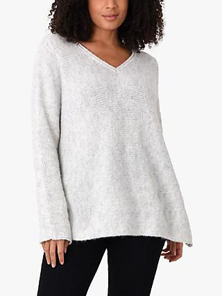 Live Unlimited Curve Boxy V Neck Jumper, Grey
