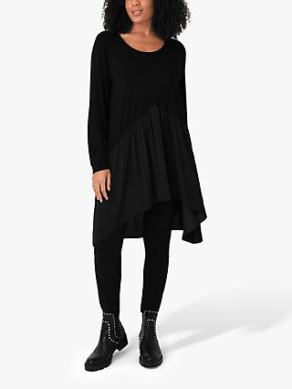 Live Unlimited Curve Satin Ruffle Tunic Top, Black