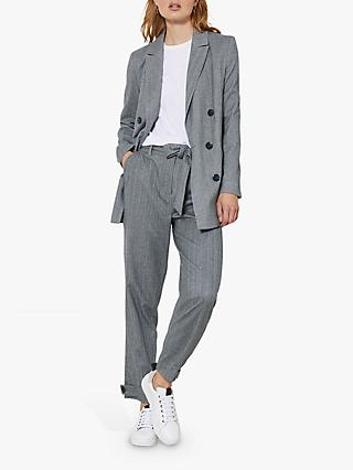 Mint Velvet Slim Herringbone Trousers, Grey/Multi