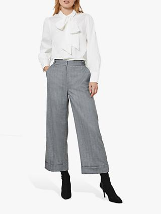 Mint Velvet Cropped Herringbone Trousers, Grey