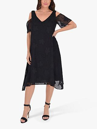 Live Unlimited Curve Burnout Cold Shoulder Dress, Black