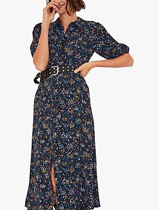 hush Sienna Midi Shirt Dress, Vintage Dot Floral