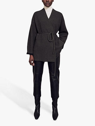 Buy Jigsaw Boiled Wool Jacket, Khaki, XS Online at johnlewis.com