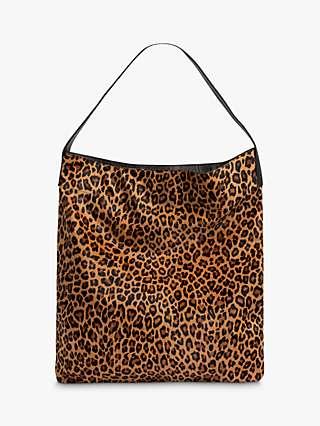Gerard Darel Lady Leather Leopard Tote Bag, Camel