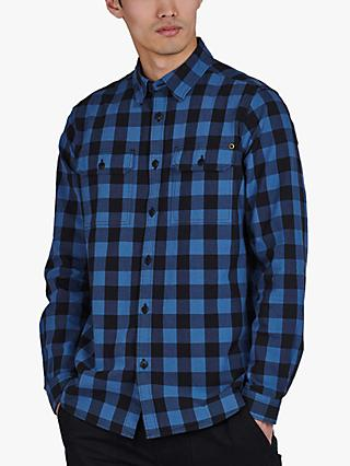 Barbour International Bold Block Check Shirt, Mid Blue