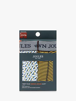 Joules Crown Joules Pheasant Stripe Trunks, Pack of 2, White/Yellow