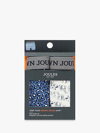 Joules Crown Joules Animal Print Trunks, Pack of 2, Blue/White