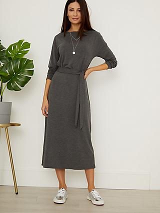Sosandar Tie Waist Jersey Midi Dress, Charcoal