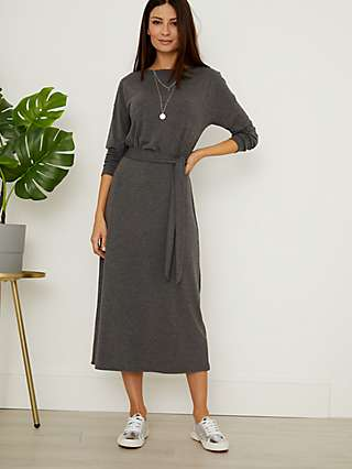 Sosandar Tie Waist Jersey Midi Dress, Charcoal